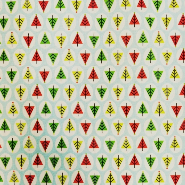 Christmas Polycotton TREES ON TURQUOISE