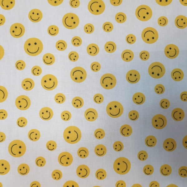 Polycotton Smiley Faces WHITE