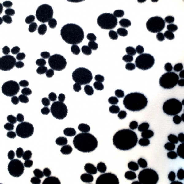 Anti Pill Fleece Fabric - Black Paws on White