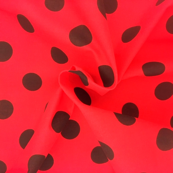 Polycotton Polkadots BLACK on RED