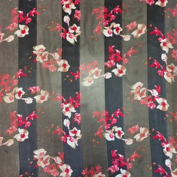 Italian Chiffon CERISE FLOWERS ON GREY