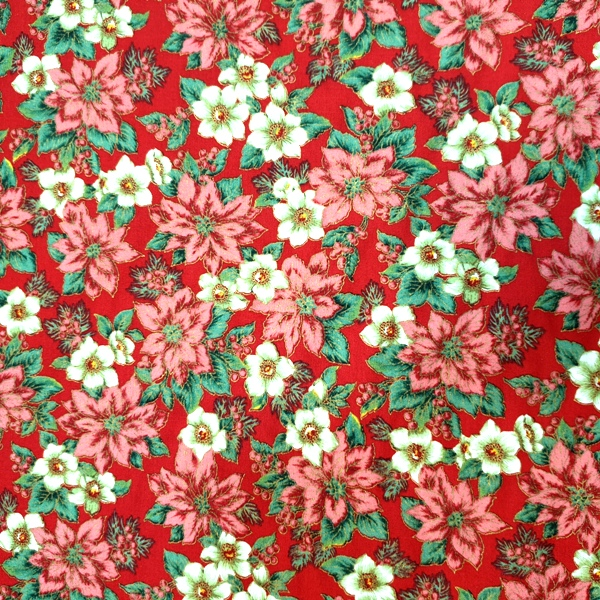 100% Christmas Cotton - Poinsettia on Red