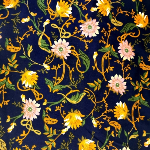 Viscose Chalis ORANGE & PINK FLOWERS ON NAVY BLUE