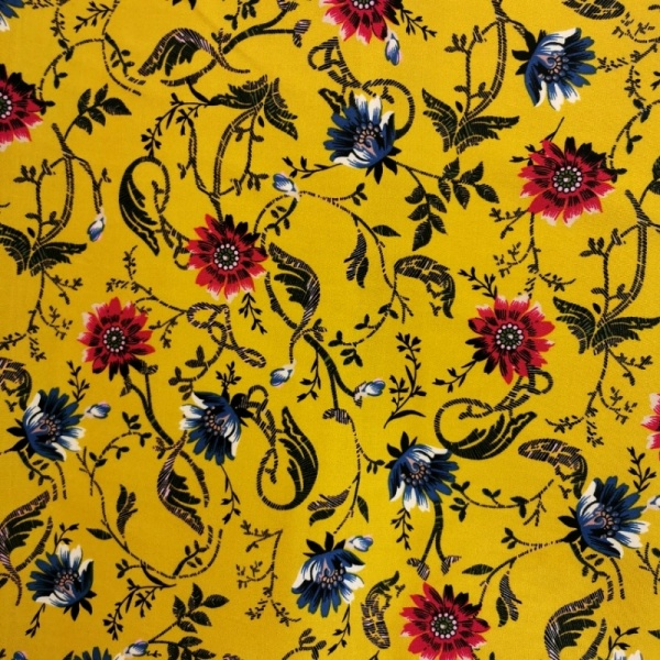 Viscose Chalis PETROL & PINK FLOWERS ON MUSTARD