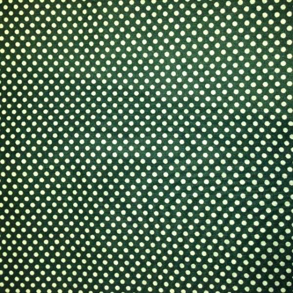 Christmas Polycotton WHITE DOTS ON GREEN