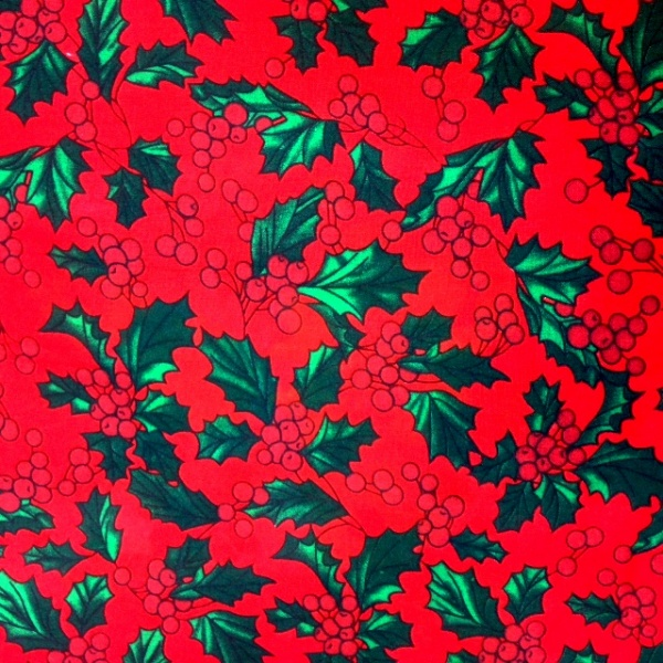 Christmas Polycotton HOLLY ON RED