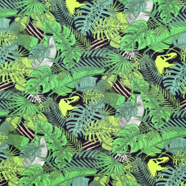 COTTON SPANDEX JERSEY - Jungle & Dinosaur