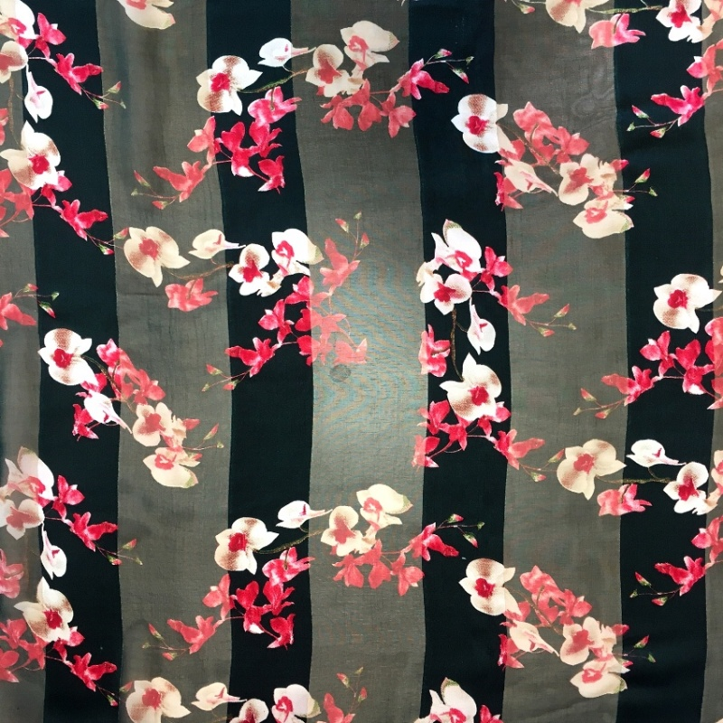 Italian Chiffon CERISE FLOWERS ON BLACK