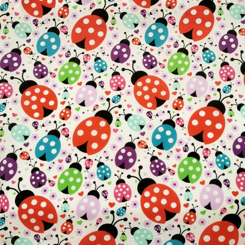 Multicolour Ladybirds Polycotton
