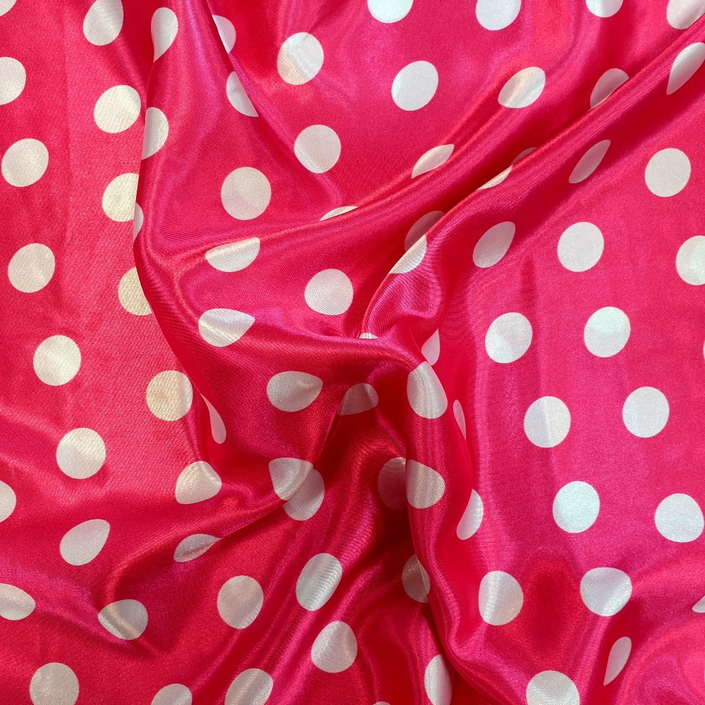 White Polkadots on Bright Pink Satin