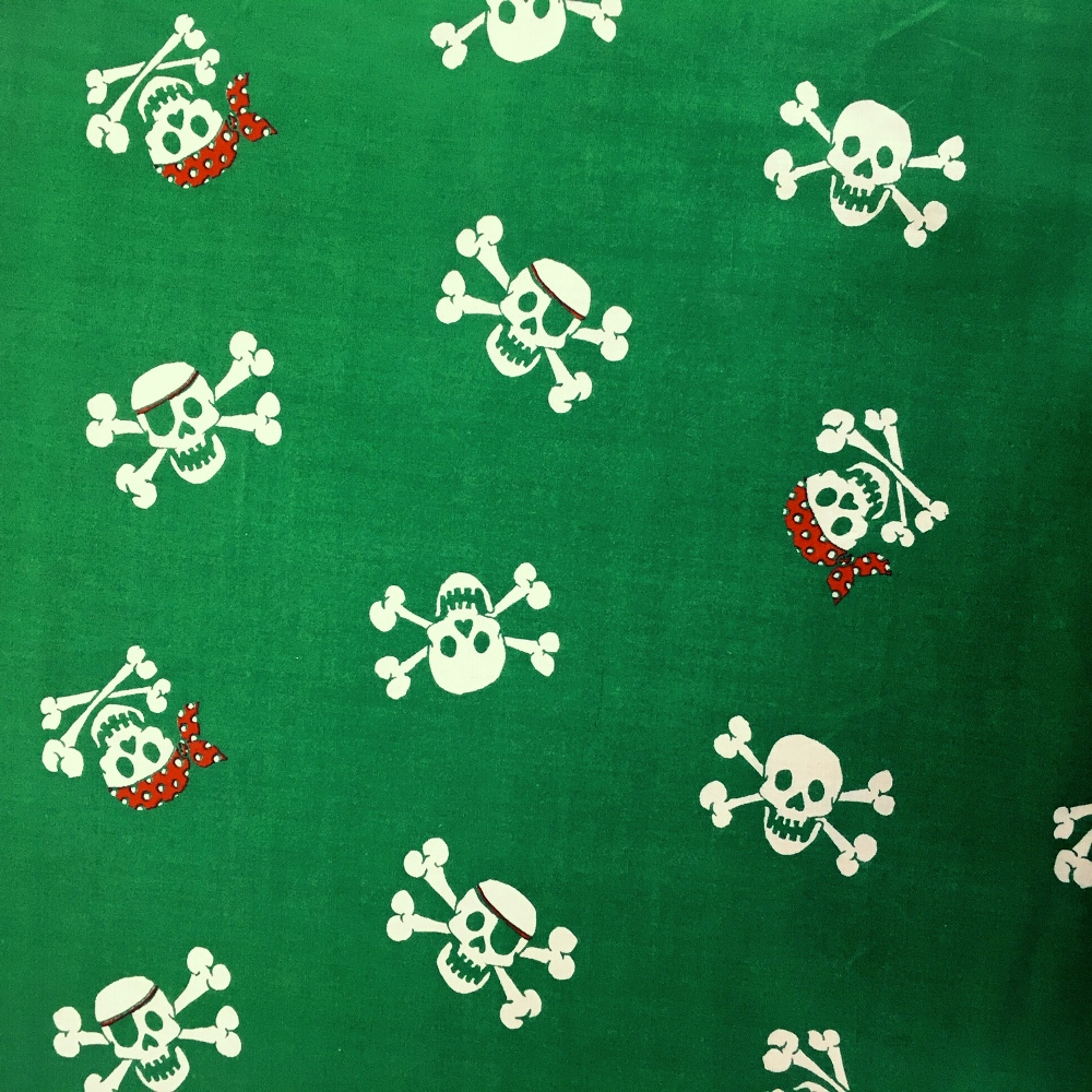 Halloween Fabric Skulls on Green