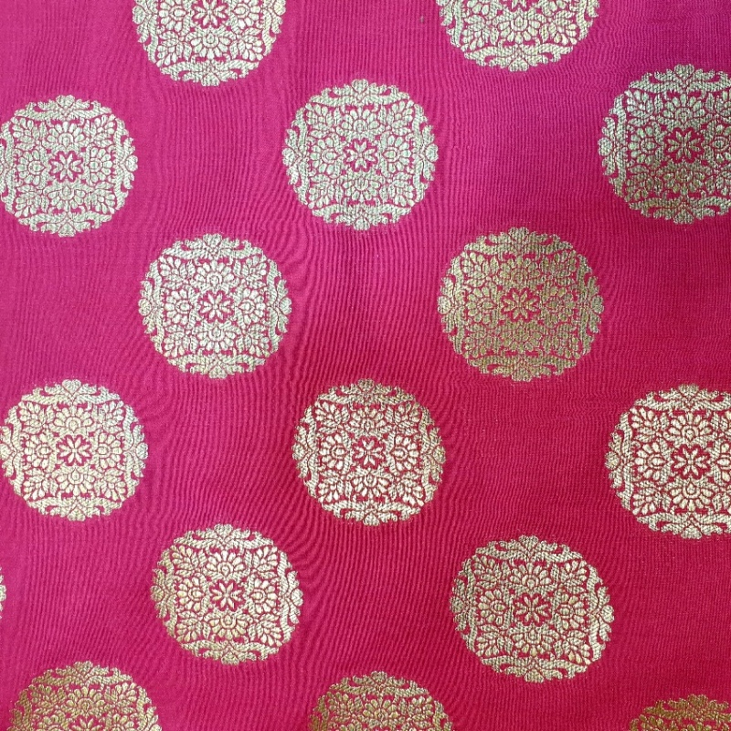 Mandela Indian Silk Brocade CERISE