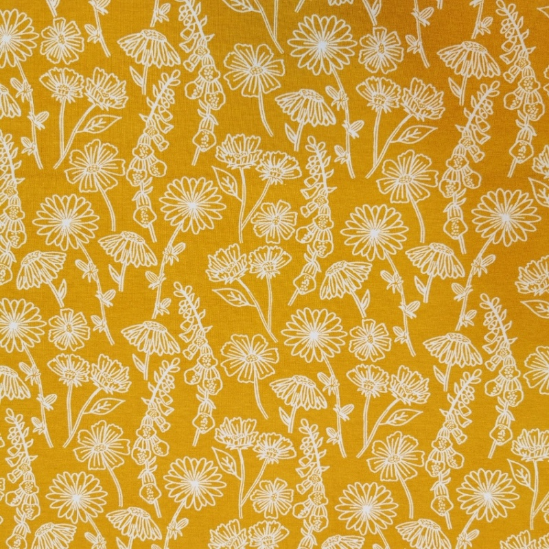 PRINTED JERSEY - Outline Flower Ochre
