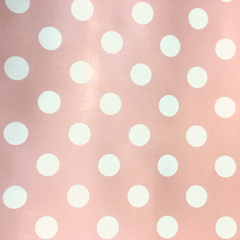 Polka Dot Vinyl White on Baby Pink 17mm
