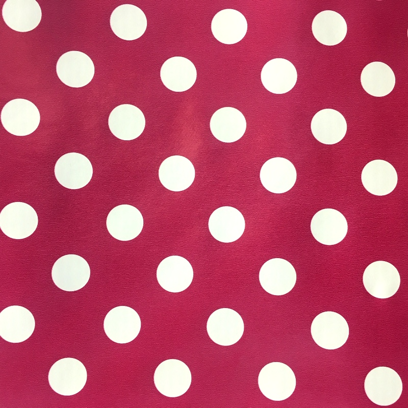 Polka Dot Vinyl White on Cerise 17mm