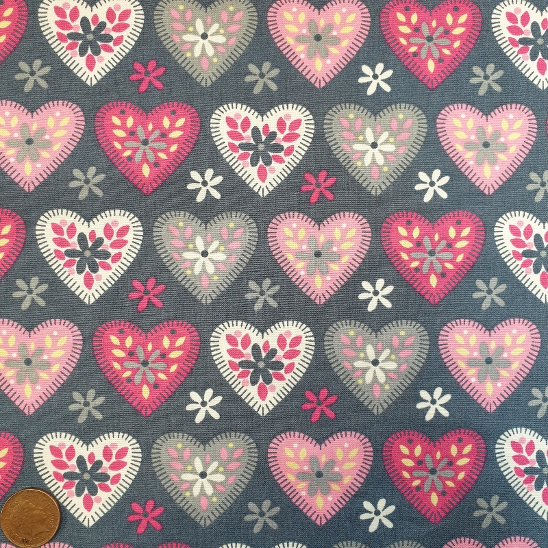 100% Cotton - Multi hearts on Grey