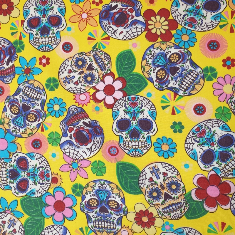 100% Cotton MULTI SKULLS on YELLOW