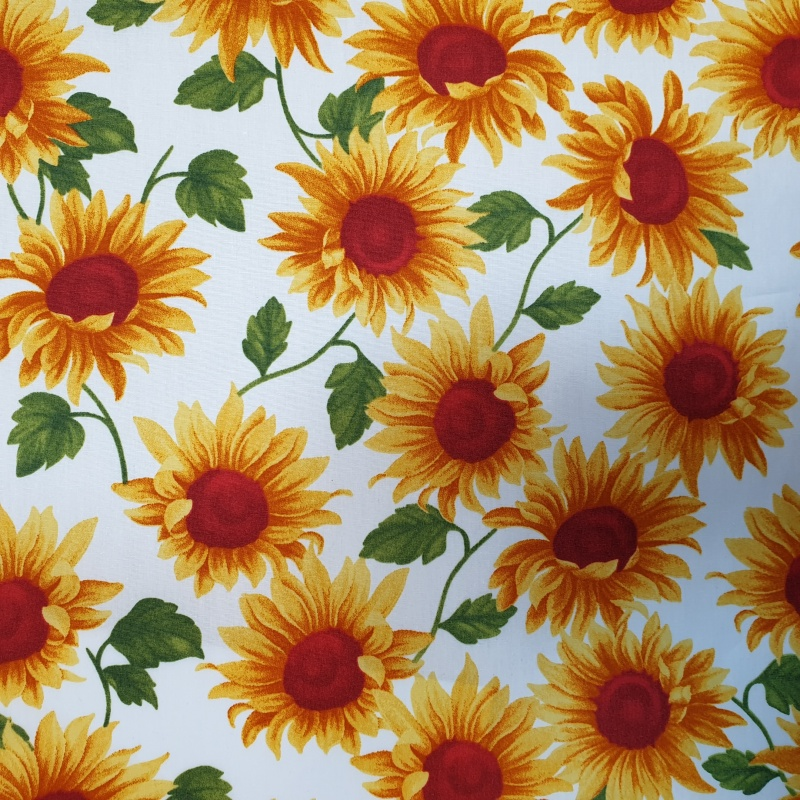 Floral Poplin Design 29 SUNFLOWERS on IVORY