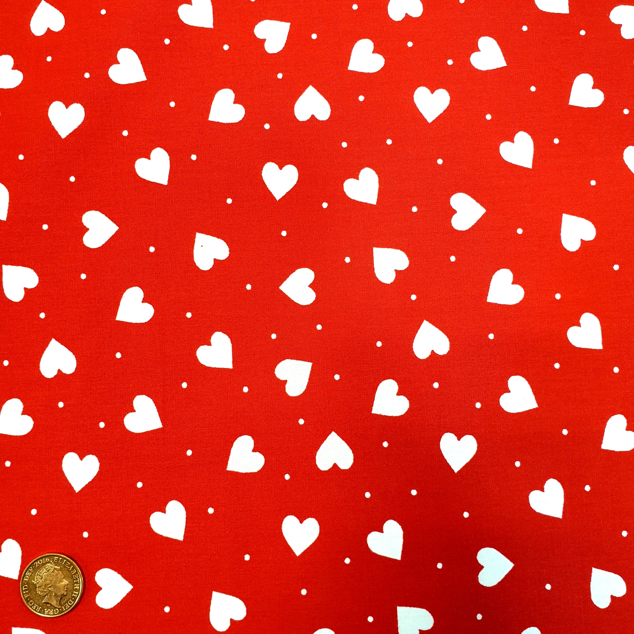 Heart Cotton White Hearts on Red