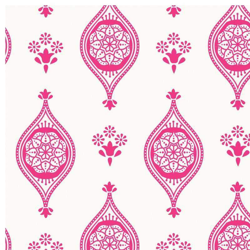 100% Cotton - INDIAN TILES PINK