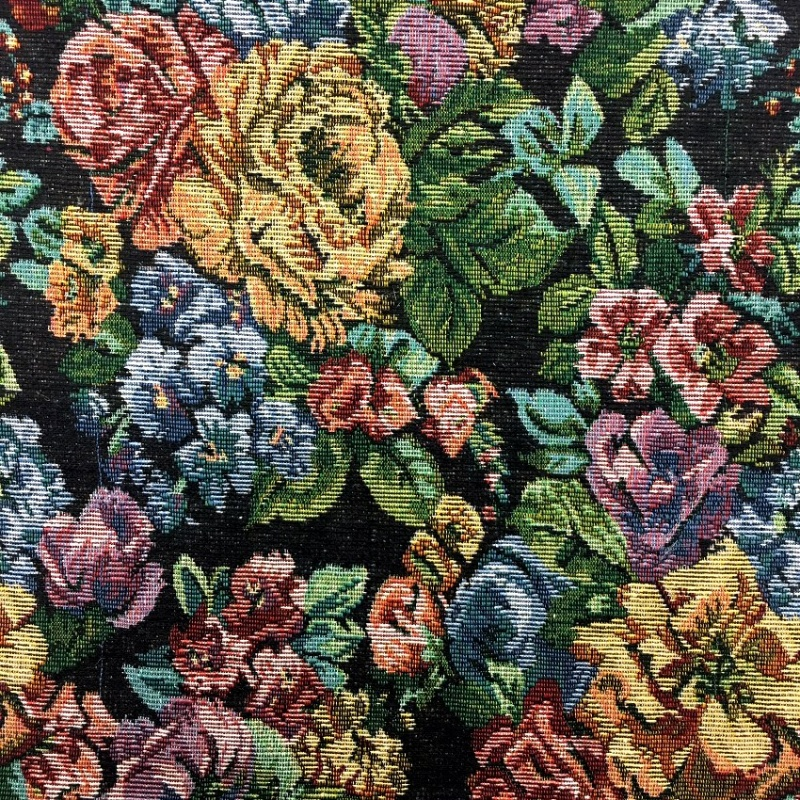 TAPESTRY FABRIC FLOWERS ON BLACK