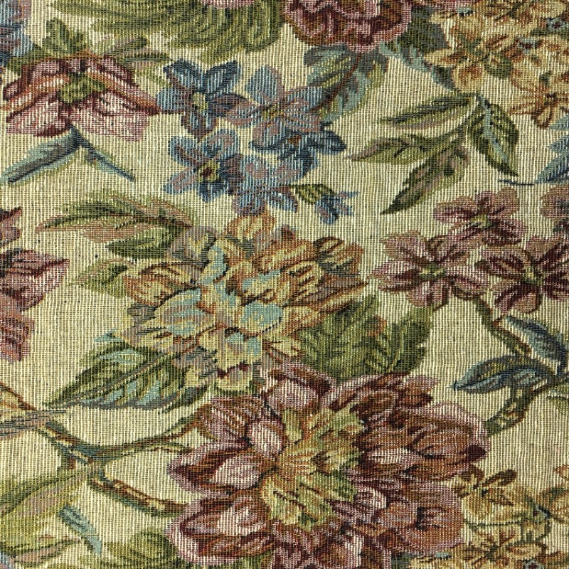 TAPESTRY FABRIC FLOWERS ON CREAM 2