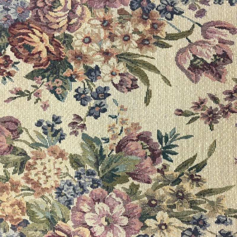 TAPESTRY FABRIC FLOWERS ON CREAM 3