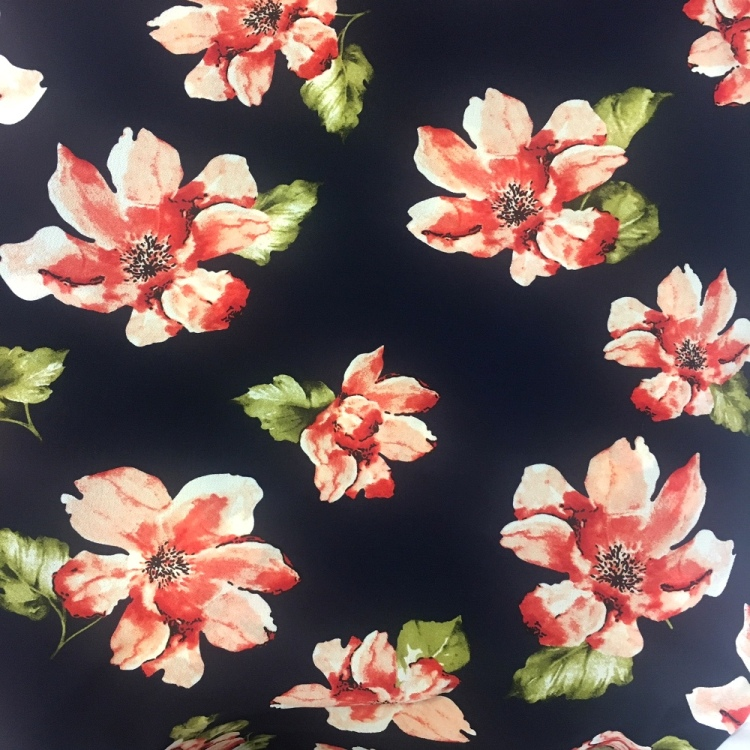 Floral Crepe - RED FLOWERS ON NAVY