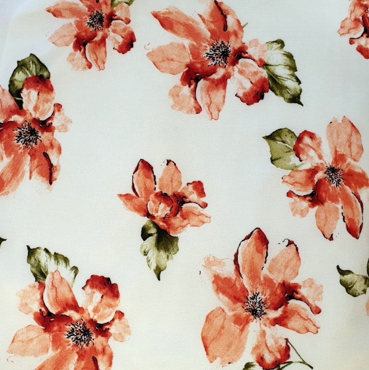 Floral Crepe - RED FLOWERS ON WHITE