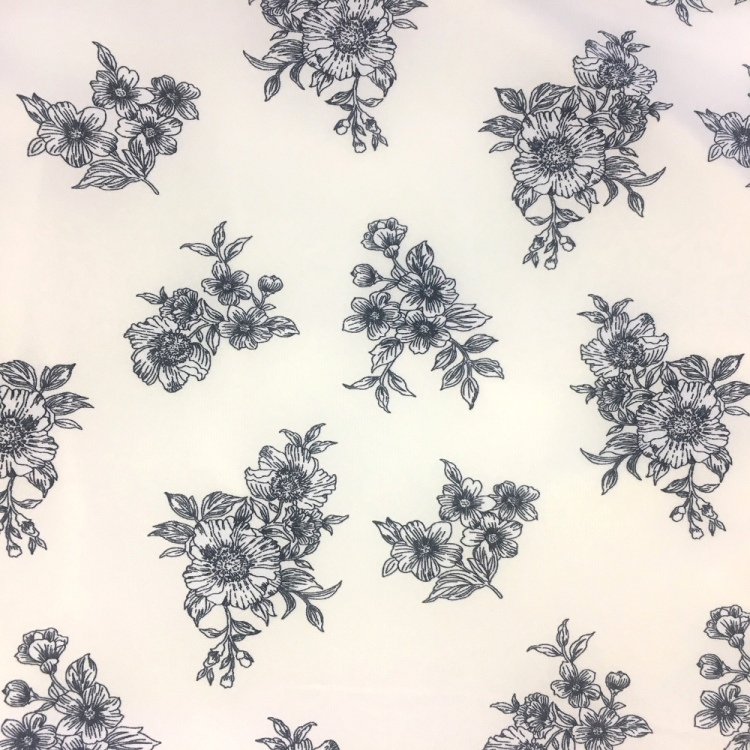 Floral Crepe - BLACK FLOWERS ON IVORY