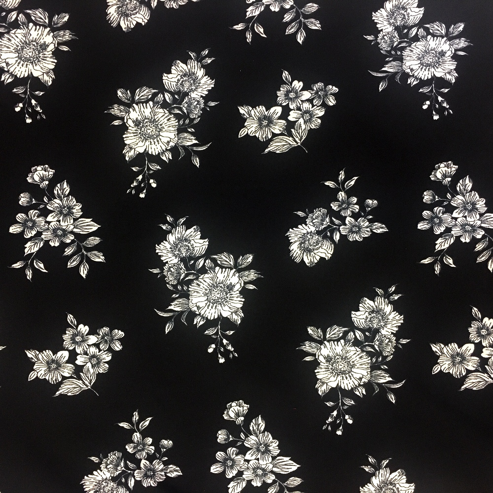 Floral Crepe - WHITE FLOWERS ON BLACK