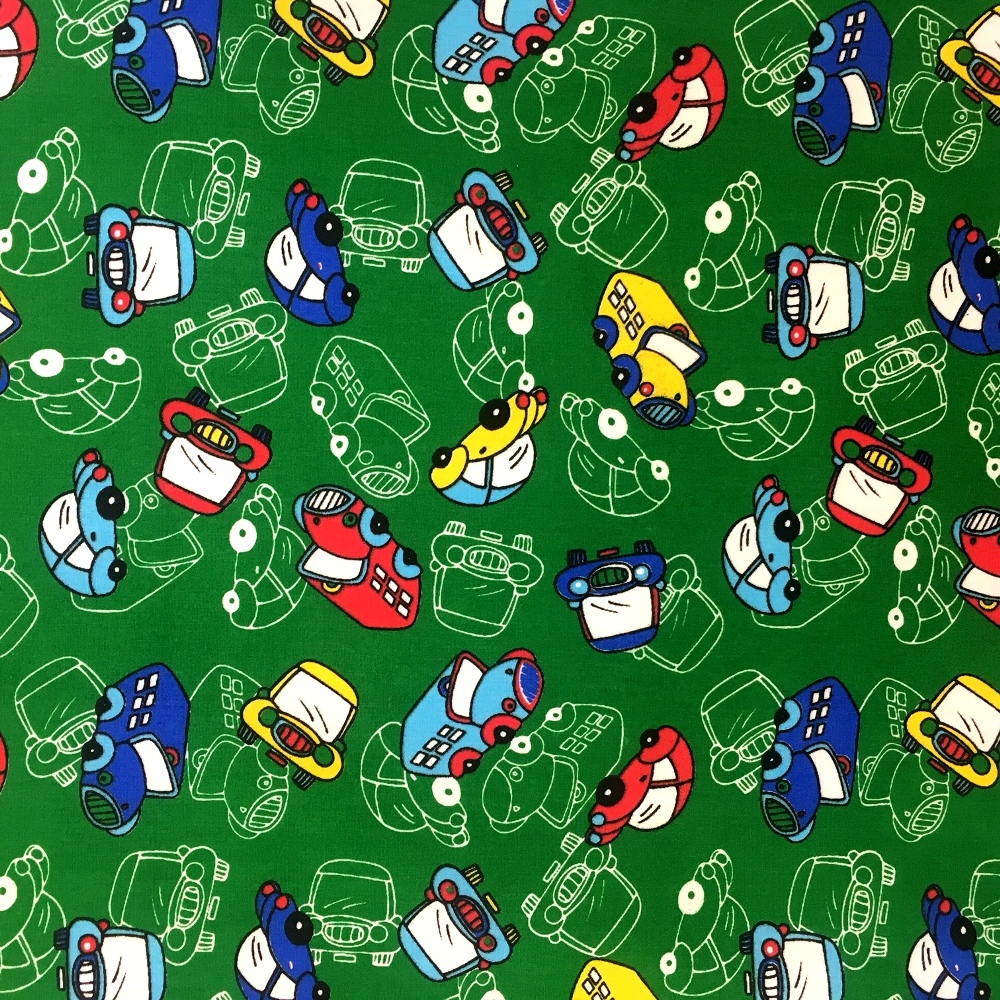 Cars Polycotton GREEN