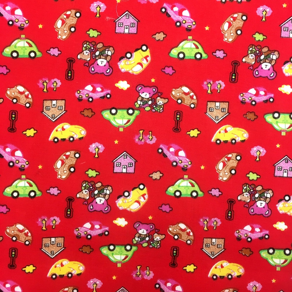 Bears/Cars Polycotton RED