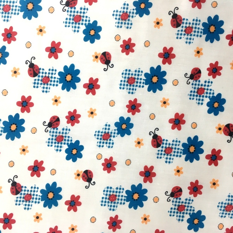 Ladybirds and Flowers Polycotton TURQUOISE