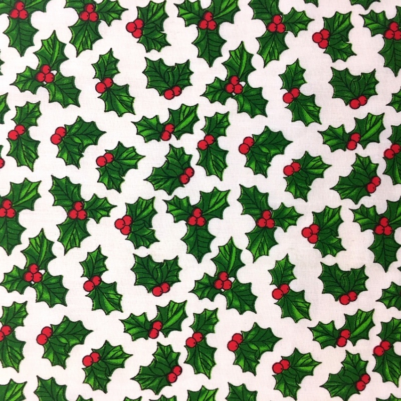 Christmas Polycotton HOLLY ON WHITE