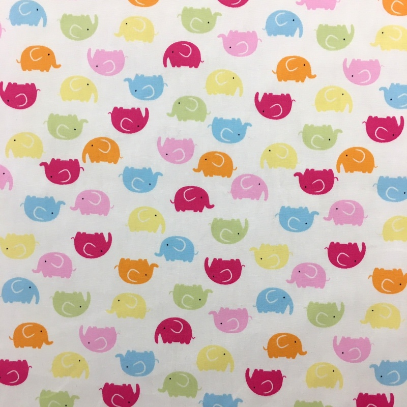100% Cotton MULTI ELEPHANTS ON WHITE