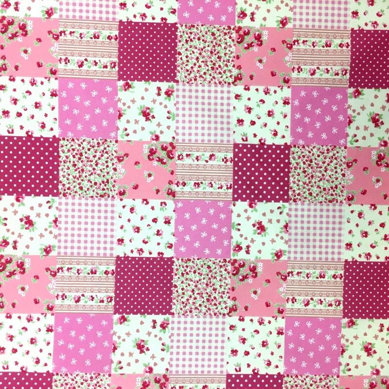 100% Cotton PATCHWORK BABY PINK
