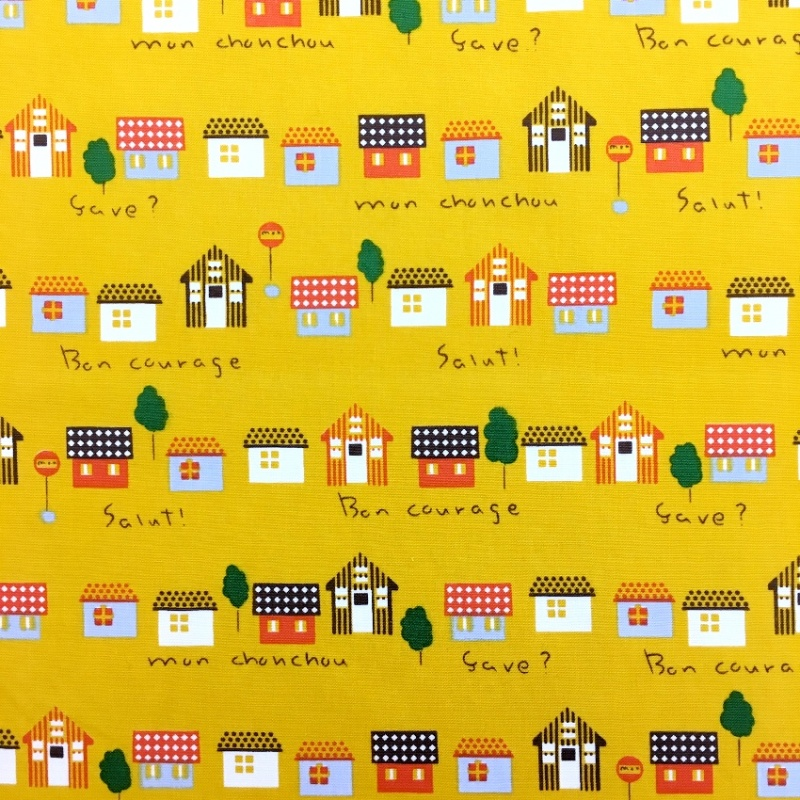 100% Cotton Houses on YELLOW