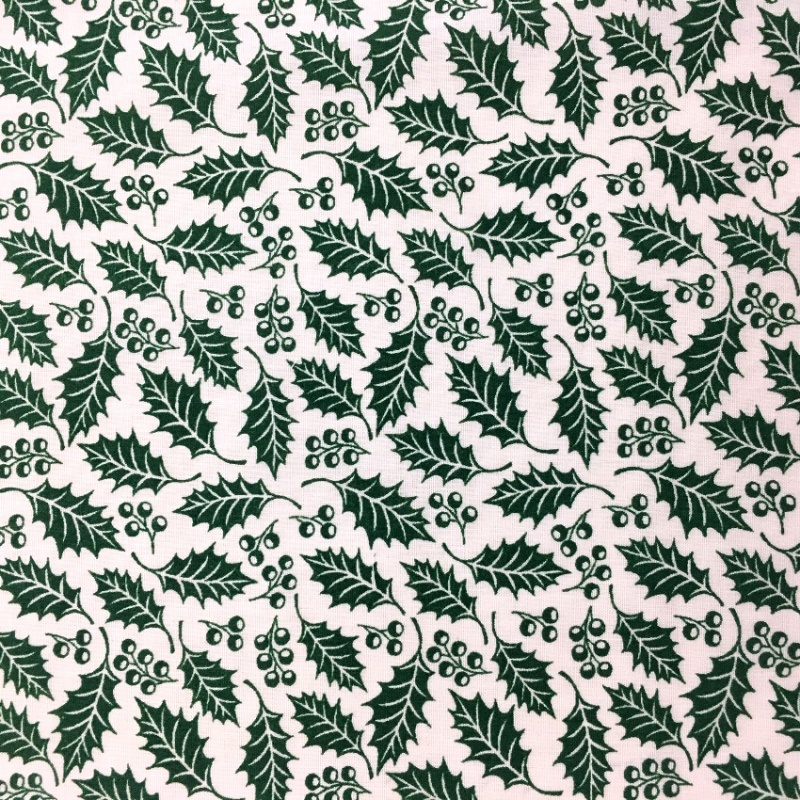 Christmas Polycotton GREEN HOLLY ON WHITE