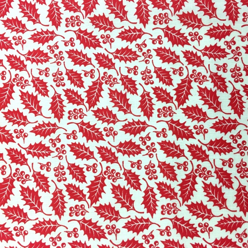 Christmas Polycotton RED HOLLY ON WHITE