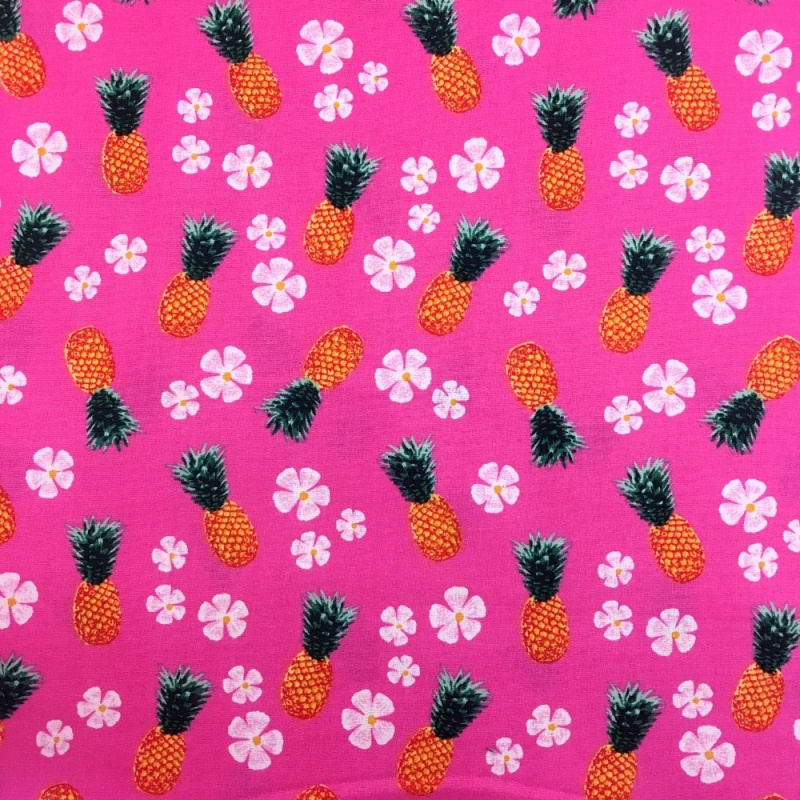 Pinapaples BRIGHT PINK 100% COTTON