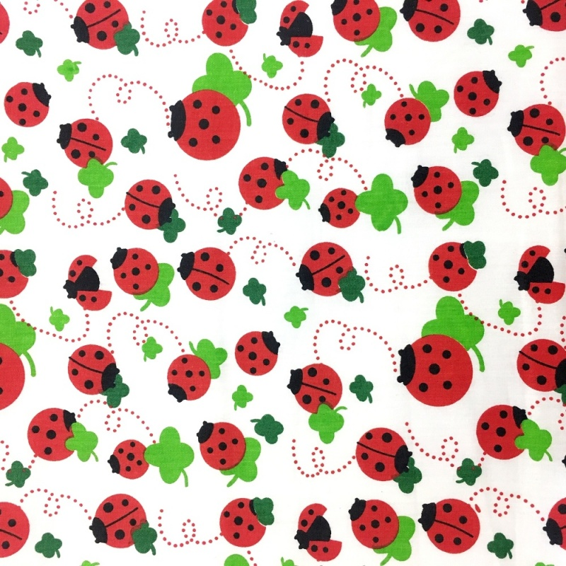 Lady Birds and Leaves 100% COTTON