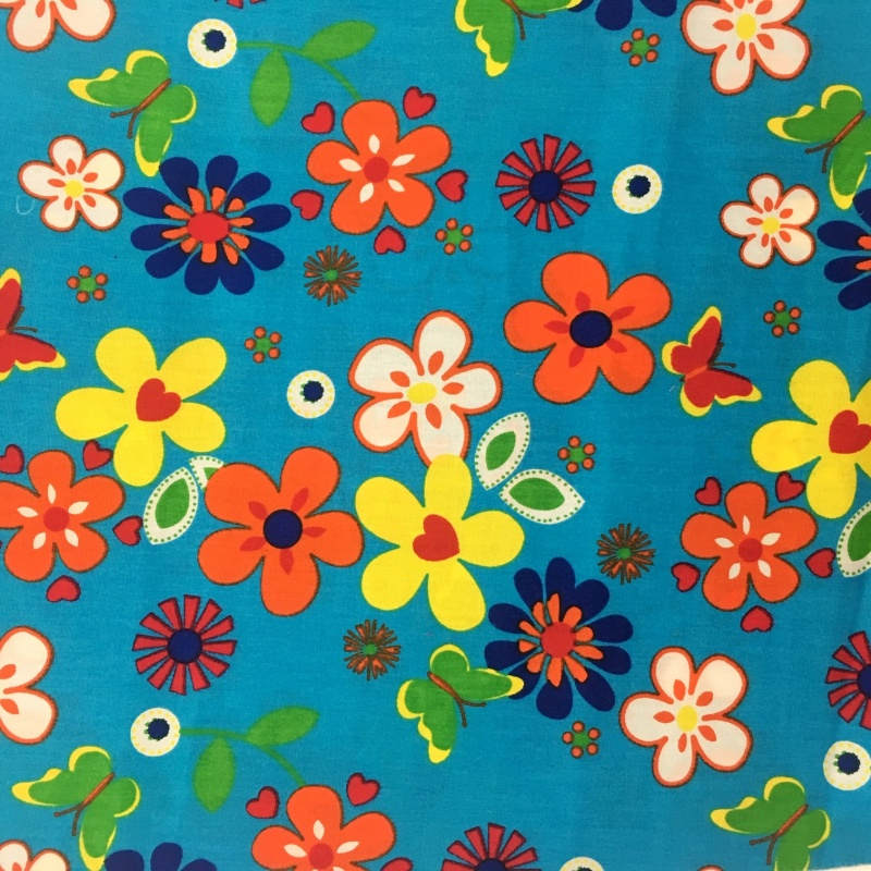 Flowers and Butterflies on Turquoise 100% COTTON