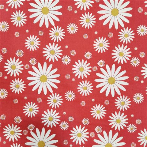 Daisies Polycotton Red
