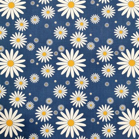 Daisies Polycotton - Blue