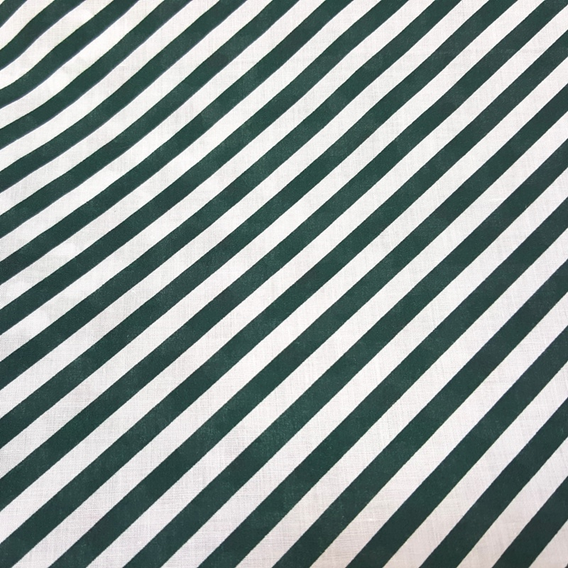 Christmas Polycotton DARK GREEN CANDY STRIPE