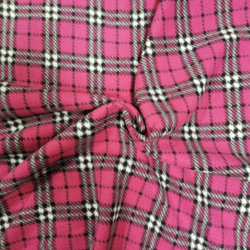 TARTAN FLEECE - CERISE AND WHITE