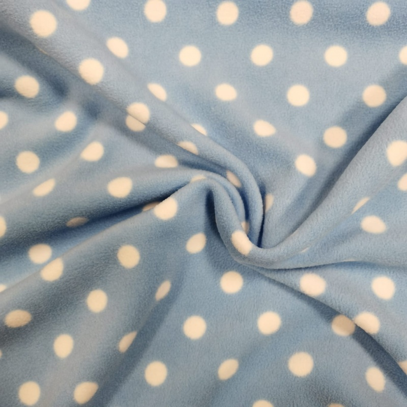 Anti Pill Fleece Fabric - White Spot on Sky Blue