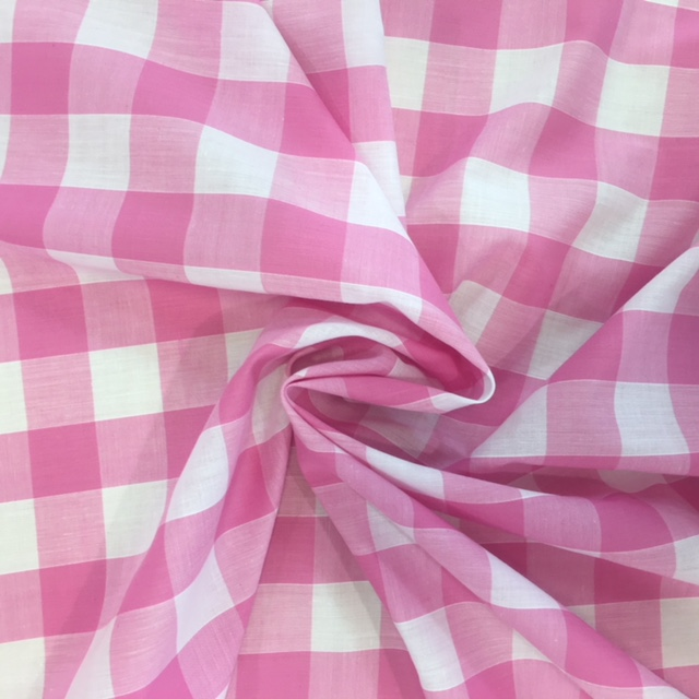 1'' Polycotton Gingham BABY PINK