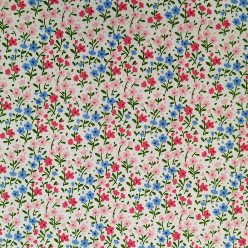 Small Sky Blue & Pink Floral on White Polycotton